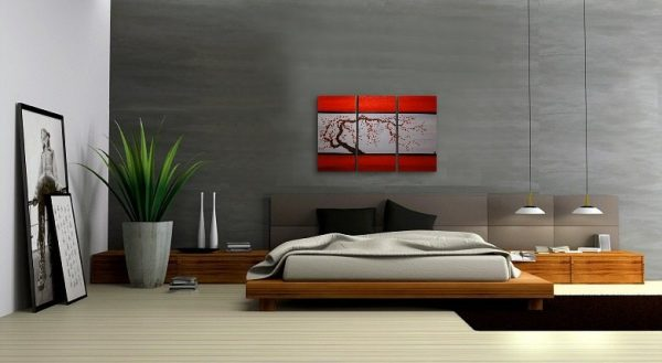 Red and Grey Original Tree Branch Acrylic Art Plum Blossom Painting Chinese Zen Style Triptych Art on Three Canvases 45x30