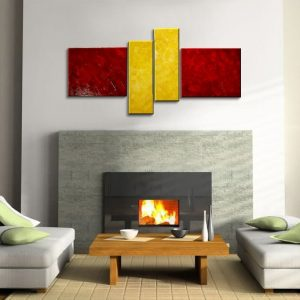 Red and Yellow Abstract Painting Modern Wall Art Original Textured Knife Painting Impasto Art 56x24 Mails Quickly