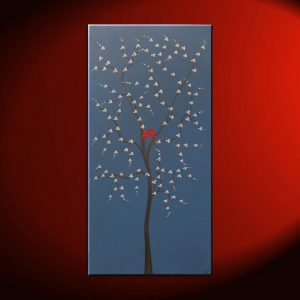 Red Bird and Tree Painting Blue Happy Art Textured Cherry Blossom Tree Accent Size Custom 15x30