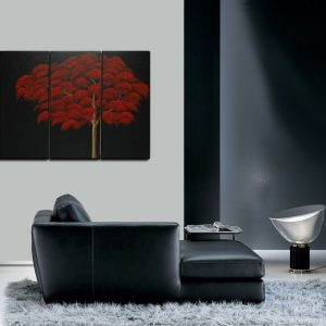Red Fall Autumn Tree Painting Abstract Art over Three Canvases Zen Asian Style Triptych Custom 45x30