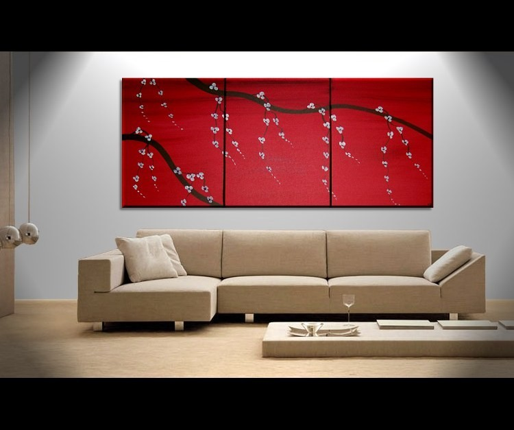 Red Japanese Cherry Blossom Painting Simple Strong Art CUSTOM Original Bold Triptych on Stretched Canvas 48x20