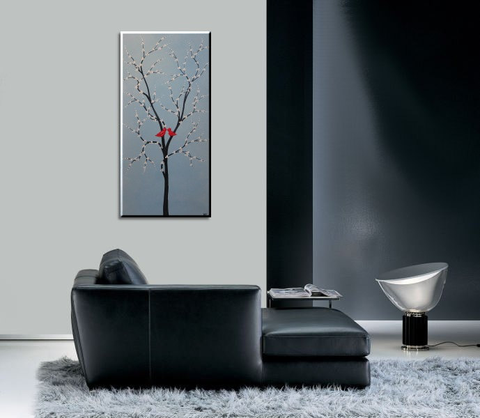 Red Love Birds and Tree Painting Light Blue Happy Art Textured Cherry Blossom Tree Accent Size 15x30 mails quickly