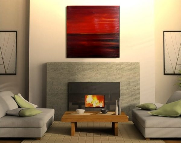 RED Seascape Abstract Crimson Painting Oceans Modern Abstract Wall Art 30x30 Square Mails Fast