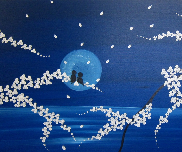 Seascape and Cherry Blossom Love Bird Painting Large Size Original Art Ocean and Moon 48x24 by Nathalie Van