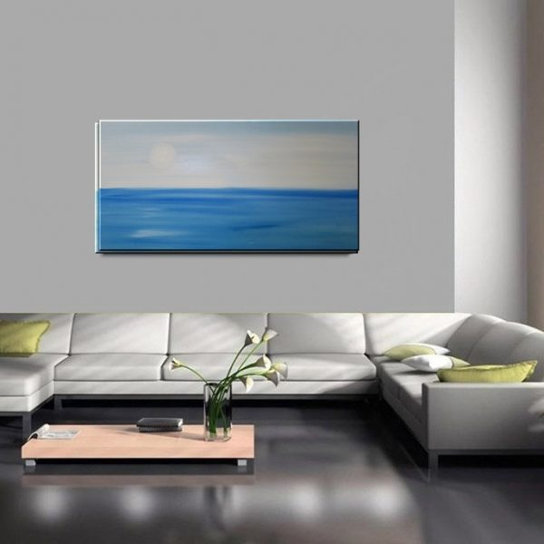 Seascape Art Large Ocean Painting Calm Seas Blue Grey Aqua Turquoise Wide Layout 48x24 Mails Quickly