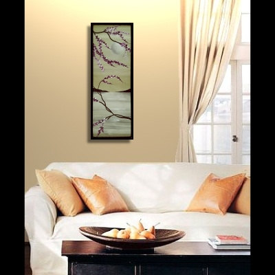 "Seascape Cherry Blossom Painting Soft Greens and Grey by Nathalie Van Original Artwork Framed Wall Art 12.5""x35.5"""