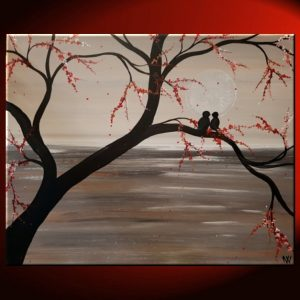 Seascape with Lovebirds and Delicate Blossoms in Sepia Painting by Nathalie Van Gray and Pink 20x16 Mails fast