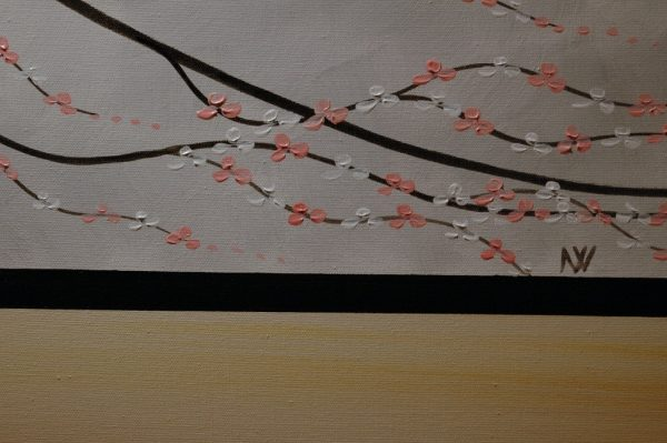 Silver Modern Painting Triptych Cherry Blossom Art Pink and White FLowers Asian Zen Tree Art Custom 48x20