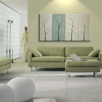 Spa Painting Cream White and Soft Green Art Cherry Blossom Flowering Trees Lemongrass Urban Original Art Custom 60x30