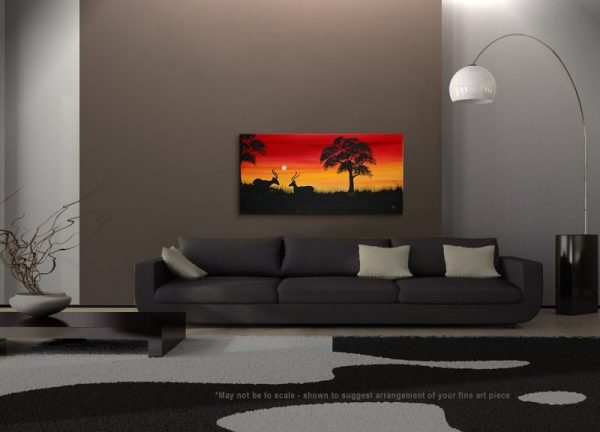 Sunset Antelope Painting Abstract Tree Art Happy Calming Mood Original Painting African Dusk Yellow Red and Black Silhouette Art 48x24