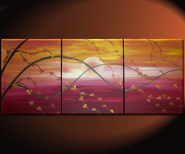 Beau Sunset Cherry Blossom Painting Asian Style Wall Art Red Orange Yellow Zen  Calming Colors Custom 48x20