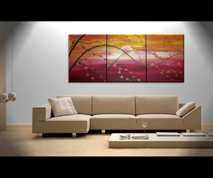 Sunset Cherry Blossom Painting Asian Style Wall Art Red Orange Yellow Zen Calming Colors Custom 48x20
