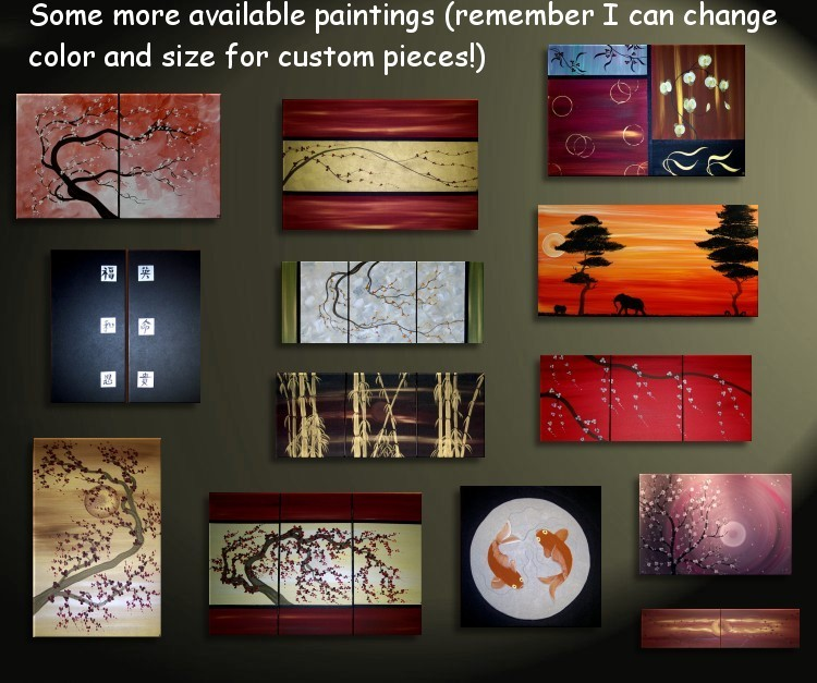 Sunset Cherry Blossom Painting Asian Style Wall Art Red Orange Yellow Zen Calming Colors Custom 48x20