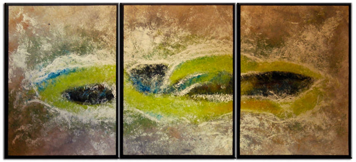 Huge Abstract Painting Textured Triptych Lime Green Beige Turquoise Oversized painted by Nathalie Van