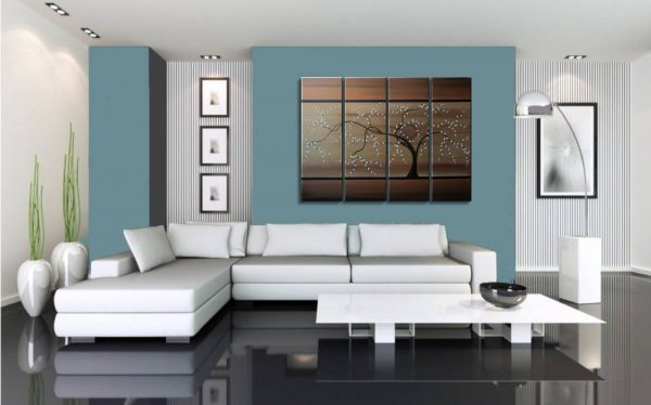 Tree Painting Copper Brown Tan Gold Modern Abstract Art Large Multiple Canvases 32x24 or 48x36 Custom