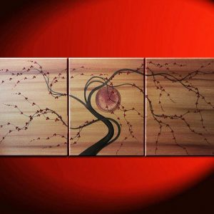Tree Painting Custom Large Gold Tan Brown with Burgundy Cherry Blossoms Triptych Branch Art 48x20