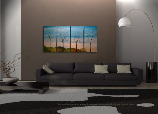 Tree Painting Four Seasons Blossom Original Art Spring Fall Summer Winter On Trend Stylish Home Decor Large CUSTOM 60x30