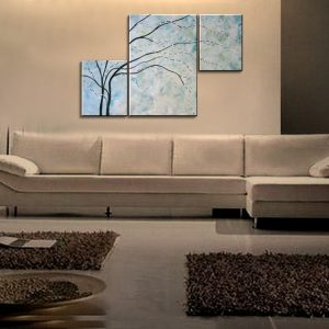 Turquoise Painting Wall Art Cherry Blossom Art Elegant Modern Abstract Huge Original Spa Home Decor Unique 56x36