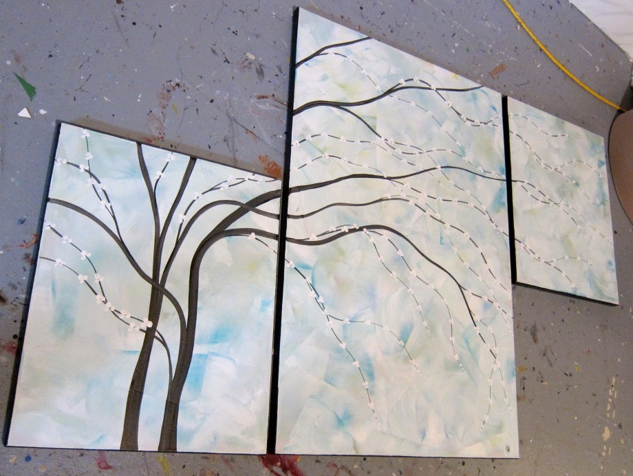 Turquoise painting wall art cherry blossom art elegant for Abstract salon of the arts