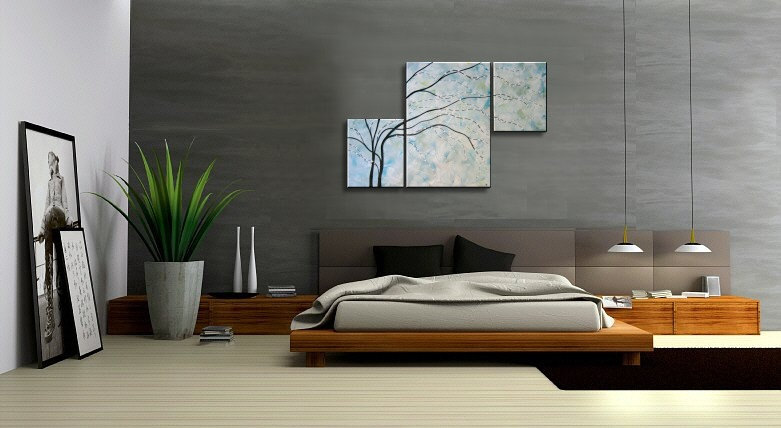 Turquoise Painting Wall Art Cherry Blossom Elegant Modern Abstract Huge Original Spa Home Decor Unique