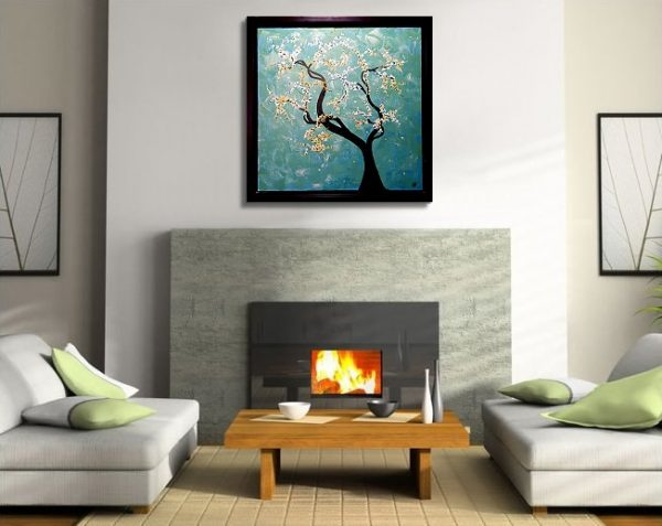 Turquoise Tree Painting Cherry Blossoms Original Art Framed Painting by Nathalie Van 27x27 Mails Quickly watch creation on youtube