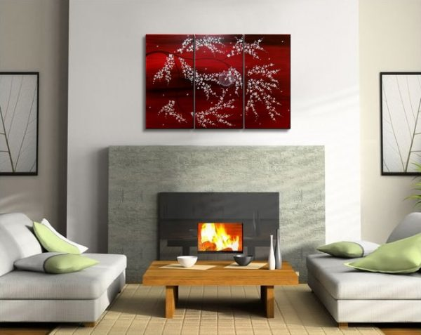 Wall Art Rich Red Triptych Tree Blossom Painting Crimson Burgundy and White Tree Branches Original Custom 45x30