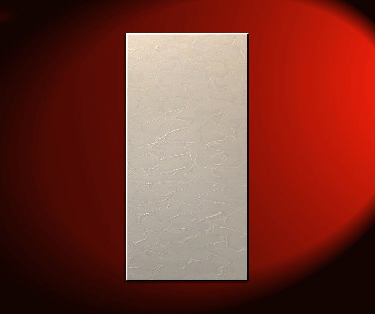 White Painting Modern Abstract Textured Art Urban Original Impasto Painting on Stretched Canvas Stylish Design 15x30