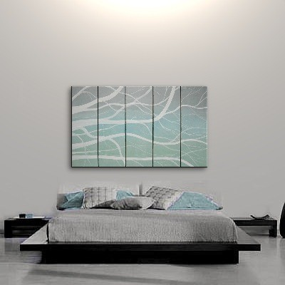 Winter Tree Branches Painting Modern Abstract HUGE Original Art Large Greys Turquoise White Office Art Custom 60x36