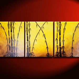 Yellow Bamboo Painting Original Wall Art Beautiful Triptych Home Decor 48x20