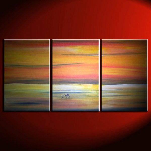 Abstract Seascape Desert Landscape Painting Camel Sunset Original Painting Wall Art Home Decor Orange Ocean Huge Custom 72x36