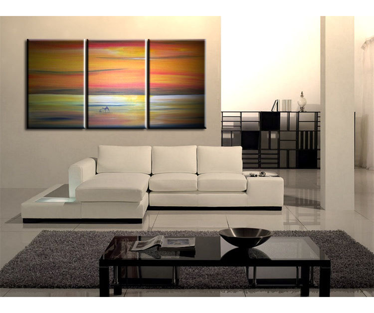 Abstract Seascape Desert Landscape Painting Camel Sunset Original Painting Wall Art Home Decor Orange Ocean Huge Custom 72x36