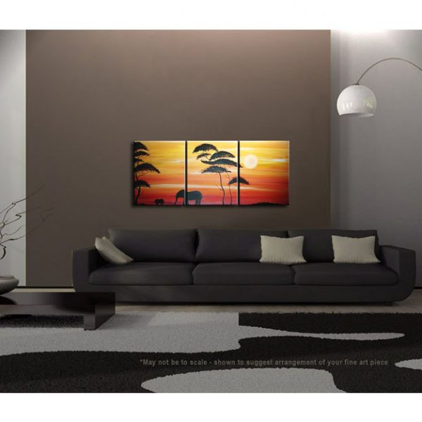 Abstract Sunset Painting Elephant Nursery Art Acacia Trees Red Orange Mother and Child Triptych Original Silhouette Wall Art Custom 48x20