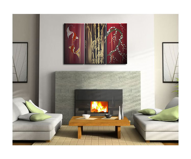 Beautiful Koi Fish Painting in Wine Reds Triptych Wall Art Bamboo Cherry Blossoms Custom 45x30