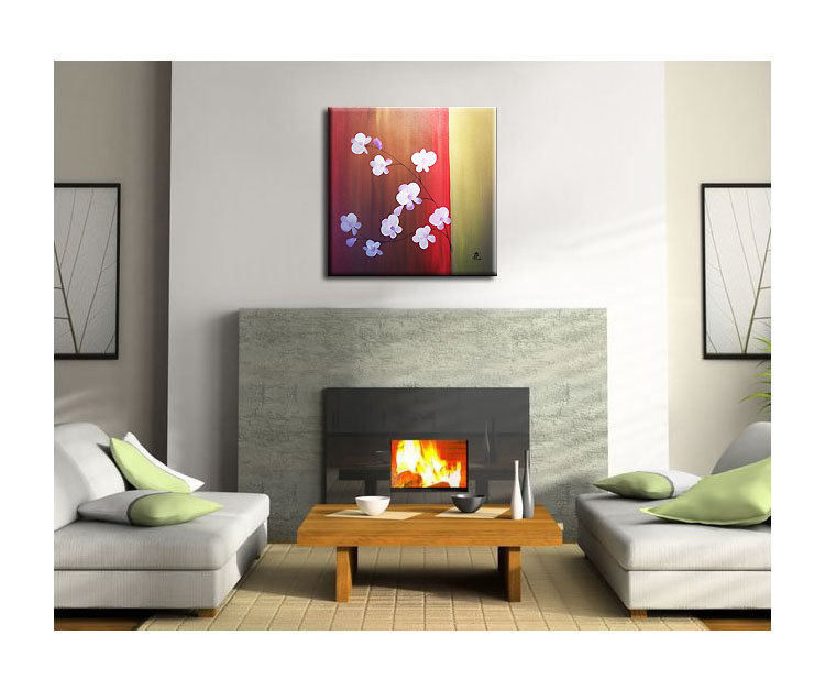 Beautiful Orchid Painting Red and Gold with Delicate Flowers Original Wall Art Home Decor Square Custom 30x30
