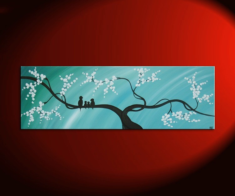 Bird Family Painting Original Modern Textured Tree Blossom Art Blue Sky on Stretched Canvas Custom Personalized 48x24
