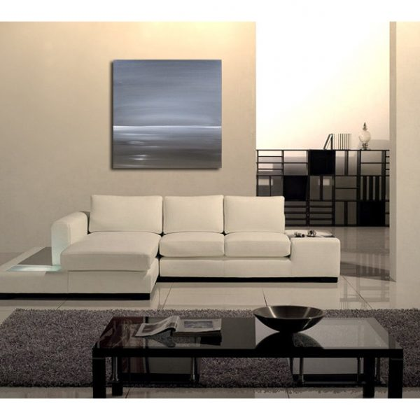 Black and White Seascape Abstract Seascape Painting Oceans with Tinge of Sepia Monochrome Wall Art 35.5x35.5 Square on Wood Panel