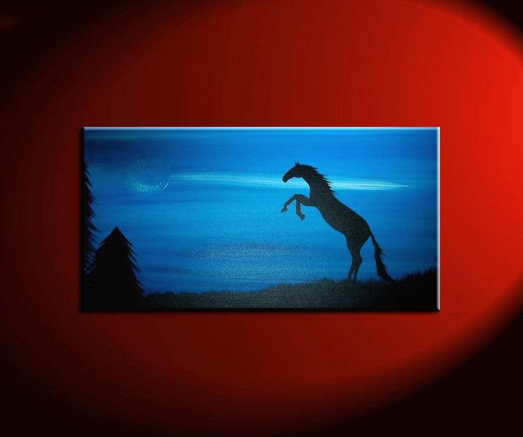 Blue Horse Painting Silhouette Mustang Rearing Powerful Passionate Animal Art Wall Art Moon Home Decor Custom 30x15