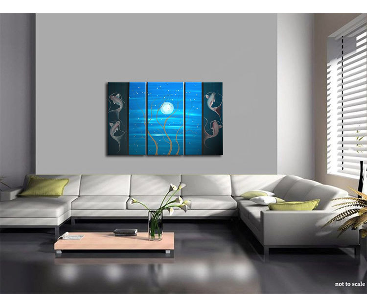 Blues Koi Fishes and Delicate Tree with Blossoms Painting Moon Cherry Blossom Triptych Original Art Custom 45x30