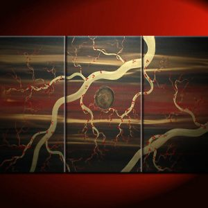 Brilliant Night Sky Zen Painting with Plum Blossoms Black Dark Red Gold Triptych Wall Art