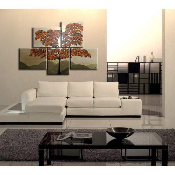 Burnt Orange Tree Painting Unique Layout Original Gold HUGE Modern Asian Abstract Wall Art Home Decor Custom 56x40