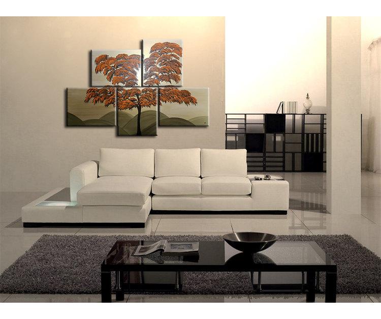 Burnt Orange Tree Painting Unique Layout Original Gold HUGE Modern Asian Abstract Wall Art Home Decor Custom 56x40