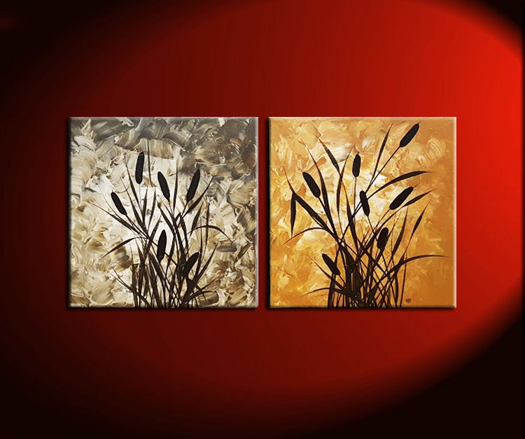 Cattail Bulrushes Painting with Grasses Brown Beige Original Artwork Neutral Wall Art Two Acrylic Paintings by Nathalie Van 36x18