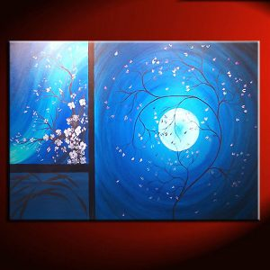 Cherry Blossom Grasses Moon and Plum Blossom Painting Original Art Blue Wall Art Home Decor Custom 36x24
