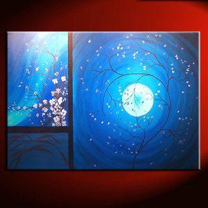 Cherry Blossom Grasses Moon and Plum Blossom Painting Original Art Blue Wall Art Home Decor Custom 36x24