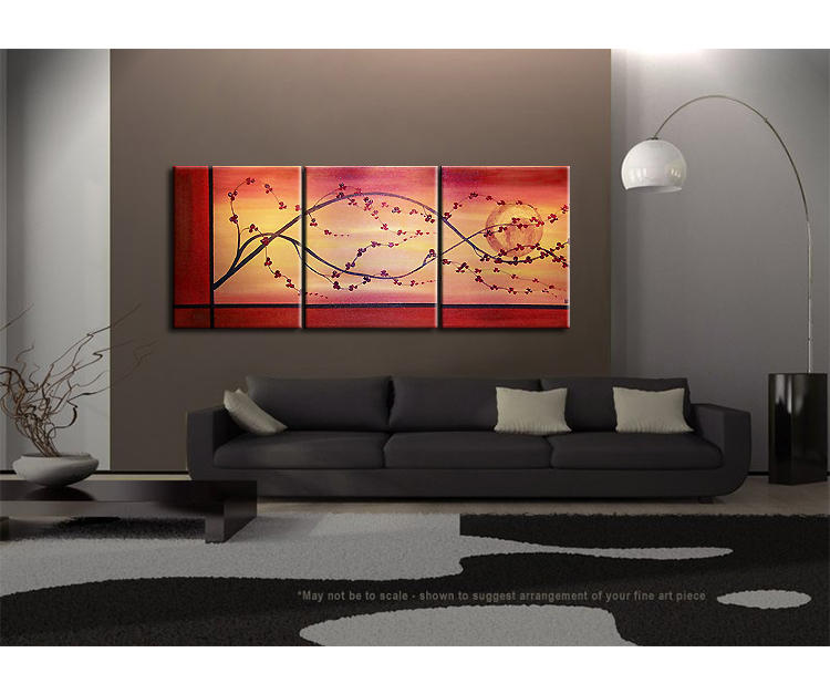 Cherry Blossom Painting Branch and Moon on Gold and Red Canvas Acrylic Triptych Painting Japanese Chinese Asian Wall Art