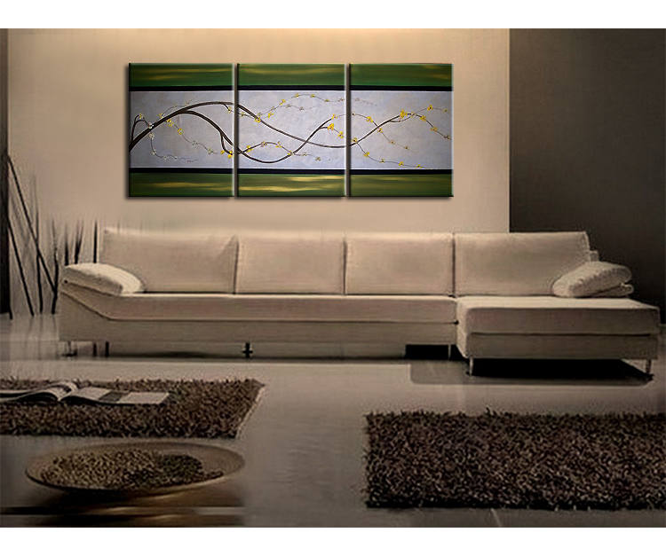 Cherry Blossom Painting Delicate Branch on Silver Gray and Green Canvas Acrylic Triptych Painting Japanese Chinese Asian Wall Art