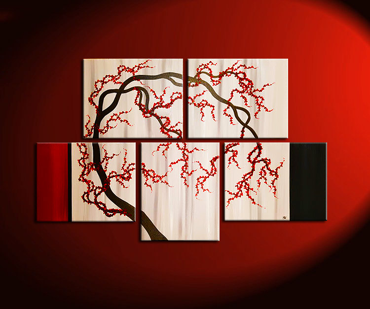 Cherry Blossom Tree Painting Unique Oriental Zen Asian Style Artwork ...