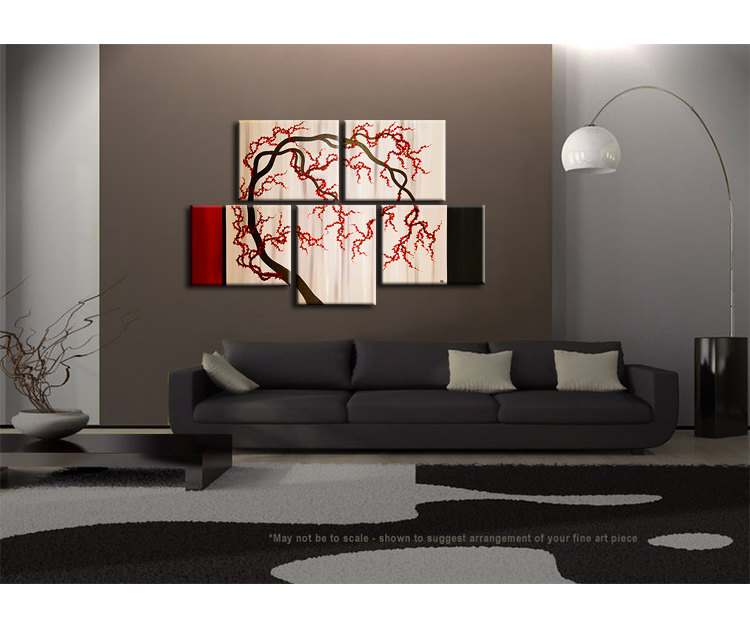 Cherry Blossom Tree Painting Unique Oriental Zen Asian Style Artwork  Contemporary Wall Art Home Decor 56x36