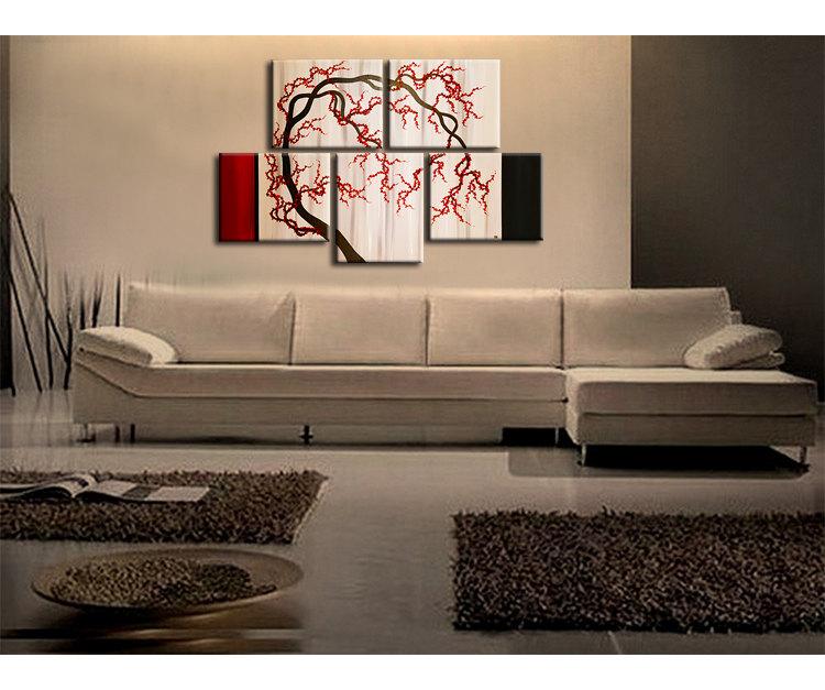 Cherry Blossom Tree Painting Unique Oriental Zen Asian Style Artwork Contemporary Wall Art Home Decor 56x36 Custom