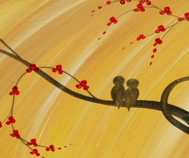 Custom Bird Family Painting Love Birds Personalize with your own Kids Bright Happy Colors Yellow Sunny 36x12